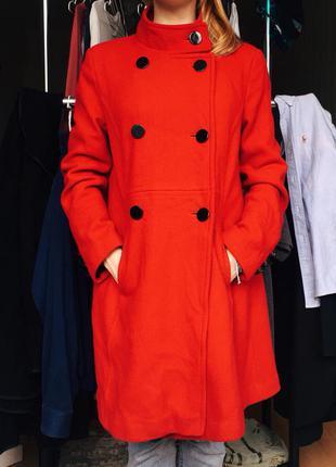 Доставка в подарок :) теплое демисезонное пальто-кокон, 60% шерсть