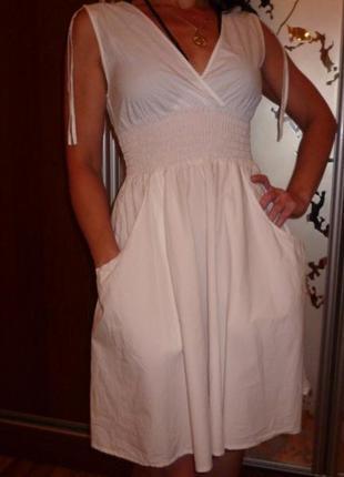 Белое хлопковое платье 42-44