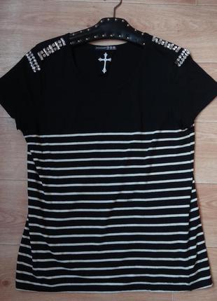 Снизила цену полосатая кофточка- футболка с камнями .
