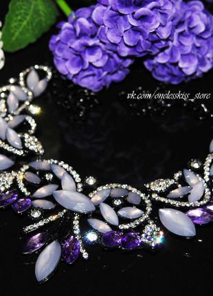 Колье с фиолетовыми камнями чёрный металл/цепочка ожерелье