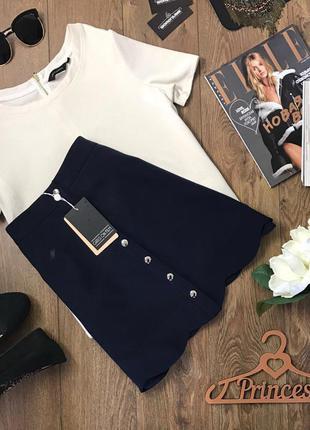 Красивая мини юбка в элегантном стиле с декоративной отделкой кромки    ki0448    girls on film