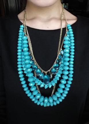 Массивное ожерелье бирюзового цвета h&m