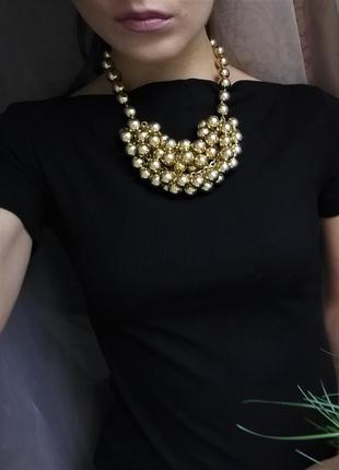 Золотое ожерелье-бусы от h&m