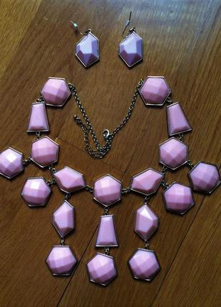 Бледно розовое - персиковое, вечернее ожерелье с серёжками от h&m
