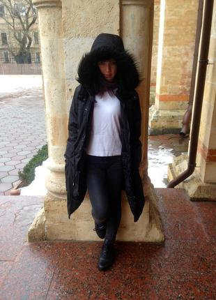 Парка с мехом h&m, куртка, пальто