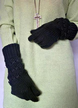 Вязаные длинные теплые перчатки mango