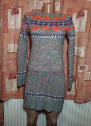 Милое теплое вязаное платье , теплая вязаная туника, длинный свитер kiss therapy