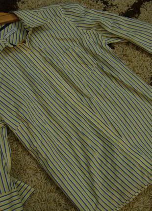 Котоновая рубашка  marks & spencer в полоску