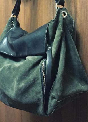 Замшевая сумка zara. натуральная кожа