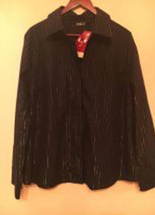 Женская черная рубашка из х/б  ткани в серебристую полоску