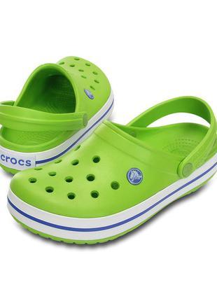 Crocs volt green & varsity blue crocband™ clog - unisex кроксы мексика