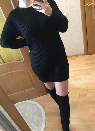 Вязаное платье черного цвета