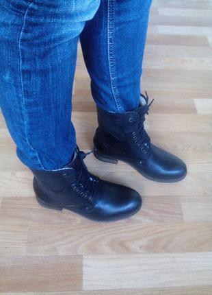 Кожаные женские зимнее ботинки полусапожки сапоги
