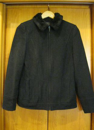 Куртка весенняя демисезонная легкая короткая меховой воротник черная dorothy perkins