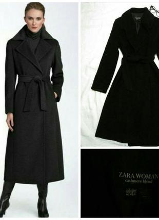 Черное пальто тренч кашемир zara