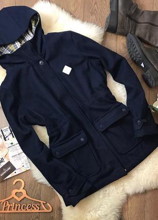 Стильное демисезонное пальто по прототипу парки на контрастной клетчатой подкладке    ow0501