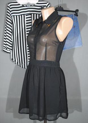 Шифоновое платье hearts & bows размер uk10 (s)  черное