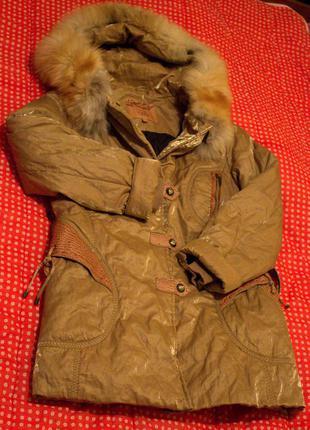 Золотистая куртка-пуховик/пальто