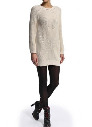 Вязаное платье пудровое стильное теплое нежное молния на спине