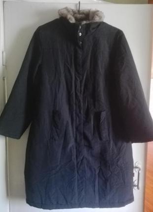 Пальто на утеплителе с мехом от broadway 14 размер