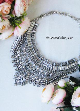 Металлическое массивное колье, ожерелье, бижутерия, украшение на шею zara бохо стиль