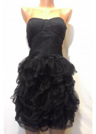 Черное платье-бюстье bershka