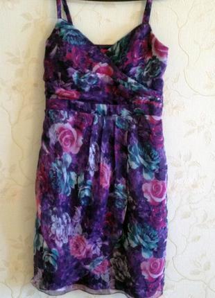Новое воздушное шифоновое платье от together цветочный принт 48