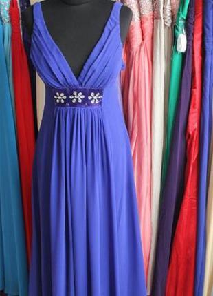 Вечернее платье на широких бретелях сапфир разные размеры