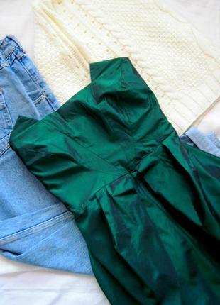 Стильное изумрудное платье-бюстье river island