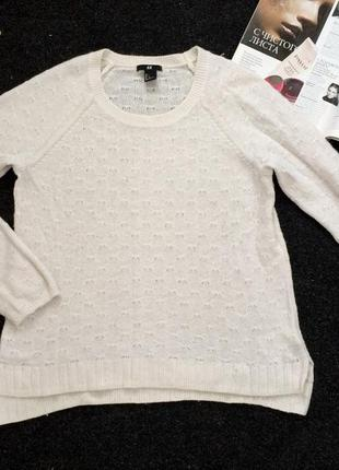 Белый свитер джемпер от h&m оверсайз