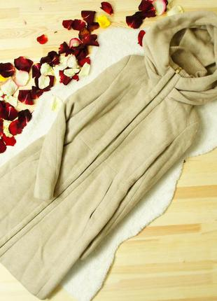 Zara basic удлиненное пальто приталенного кроя с капюшоном мантией!