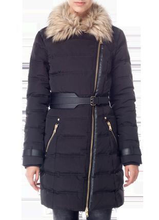 Пальто пуховое женское черное на косой молнии без капюшона