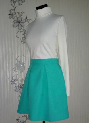 Новая цвета мяты юбка в складку, цвета бирюзы , размер s m l.