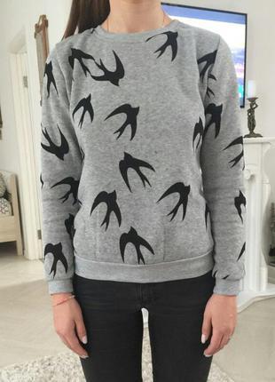 Свитшот джемпер кофта свитер с птицами