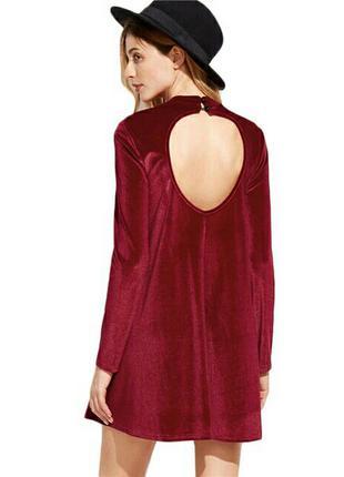 Красное бархатное платье shein, размер xs