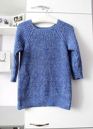 Синий теплый вязаный свитер от f&f