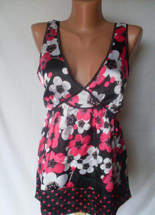 Новая розовая с черным атласная маечка uttam