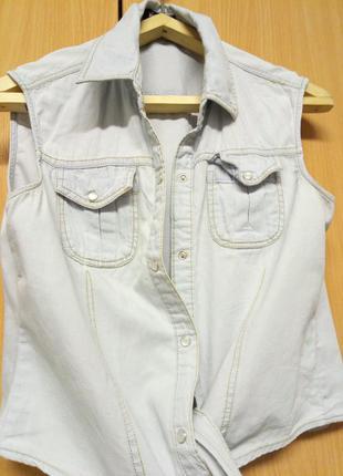Жилетка джинсовая. рубаха без рукавов