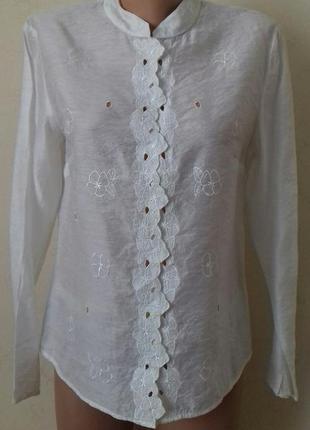 Кремовая блуза с вышивкой marks & spencer