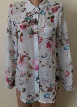 Шифоновая блуза с принтом цветы