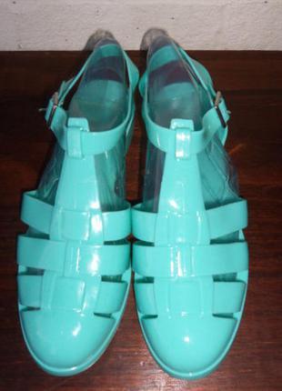 Супер стильные босоножки силиконовые мыльницы мятного  бирюзового цвета 40