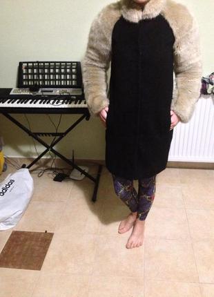 Пальто шерсть + мохер, с мехом topshop / топшоп