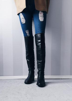 Ботфорты кожаные высокие сапоги полуботинки  ботинки на низком каблуке демисезонные