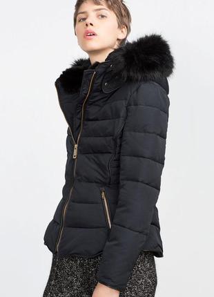 Теплая куртка с капюшоном zara