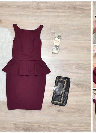 Красиве бандажне плаття з баскою (знижка 20%)