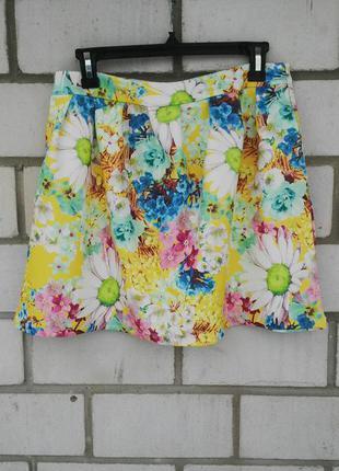 Яркая,красивая, летняя юбка из легкого неопрена в цветочный принт,с карманами по бокам danity