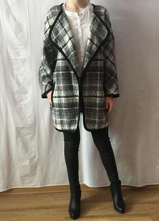 Новое актуальное шерстяное пальто-кардиган oversize  m/l