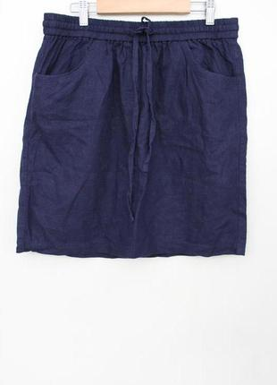 Синяя льняная летняя юбка