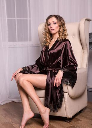 Шикарный коричневый атласный халат кимоно с широким рукавом, размеры xs/s, m/l, xl/xxl