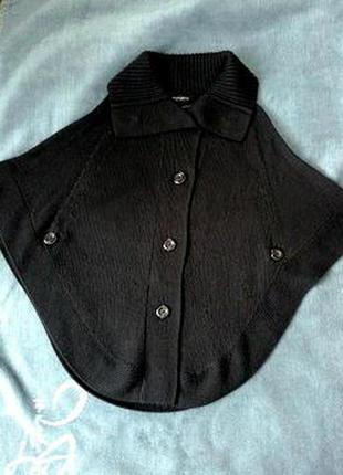 Брэндовая накидка-пончо-кардиган. чёрного цвета.